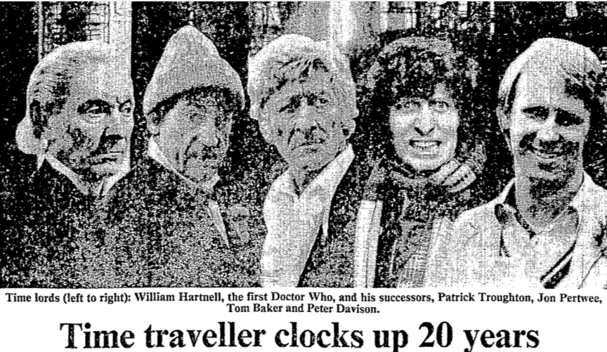 "Hewson, David. ""Time traveller clocks up 20 years."" Times, 14 Nov. 1983"