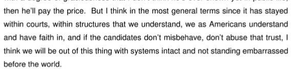 Warren Hoge, Gary McDowell, and John Micklethwait, 'The US Electoral Process: Time for a Change?'; Meetings and Speeches, 8 December 2000 (Hoge's words)