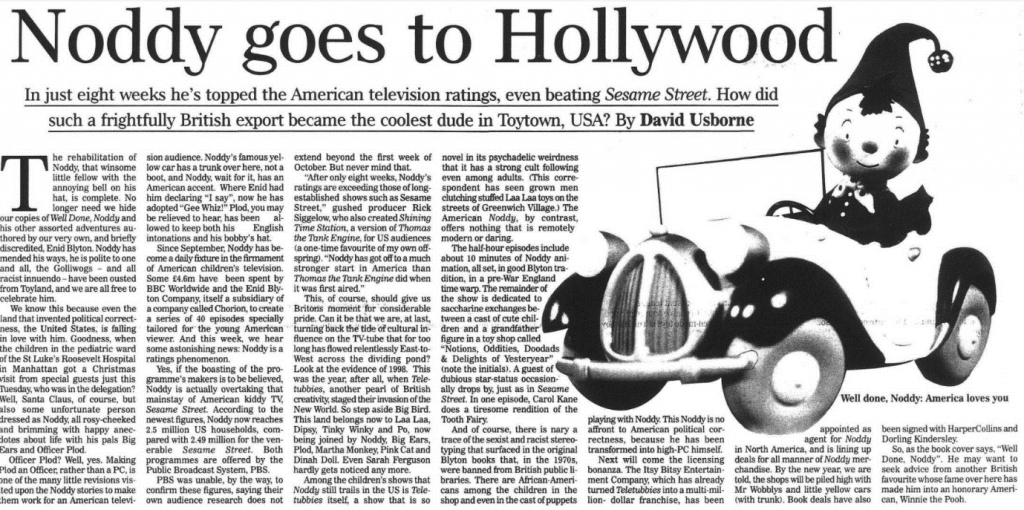 "Usborne, David. ""Noddy goes to Hollywood."" Independent, 11 Dec. 1998, p. 8. The Independent Digital Archive"