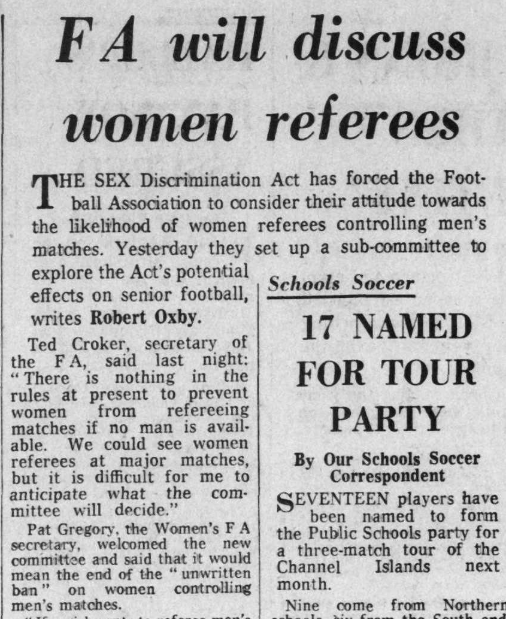"Oxby, Robert. ""FA will discuss women referees."" Daily Telegraph, 16 Mar. 1976, p. 26. The Telegraph Historical Archive"