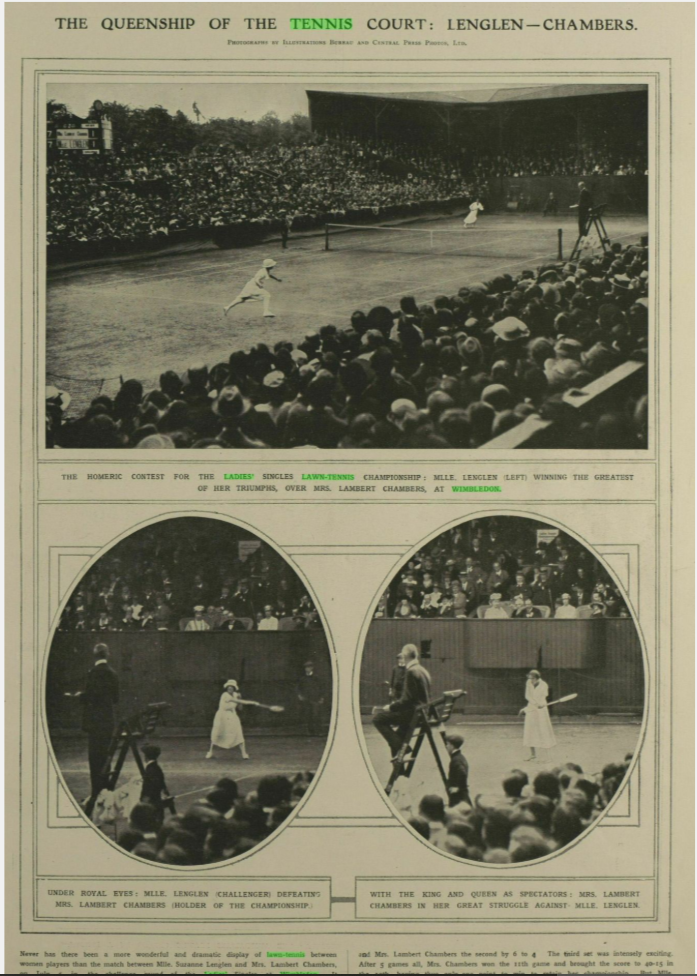 """The Queenship of the Tennis Court: Lenglen—Chambers."" Illustrated London News, 12 July 1919, p. 49"