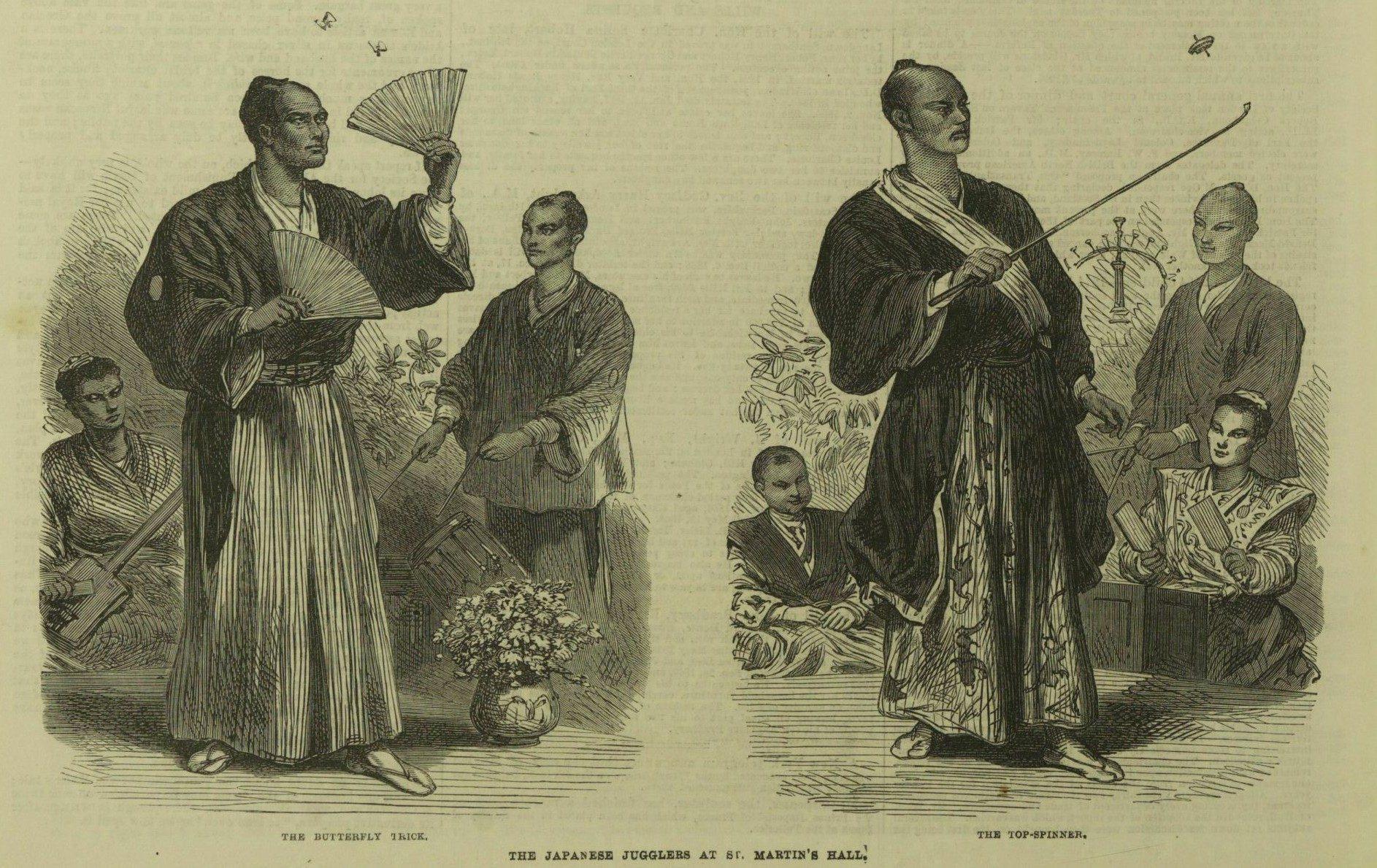 """The Japanese Jugglers."" Illustrated London News, 23 Feb. 1867, p. 176. The Illustrated London News Historical Archive, 1842-2003"
