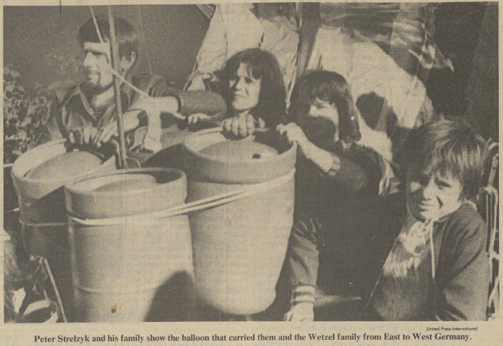 """Getler, Michael. """"German Balloonists' Flight to West: A Night Filled with Fear and Hope."""" International Herald Tribune [European Edition], September 29-30, 1979, p. 7. International Herald Tribune Historical Archive 1887-2013"""