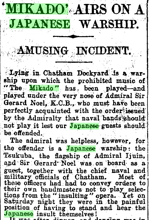 """'Mikado' Airs on a Japanese Warship."" Daily Mail, 11 June 1907, p. 5. Daily Mail Historical Archive, 1896-2004"