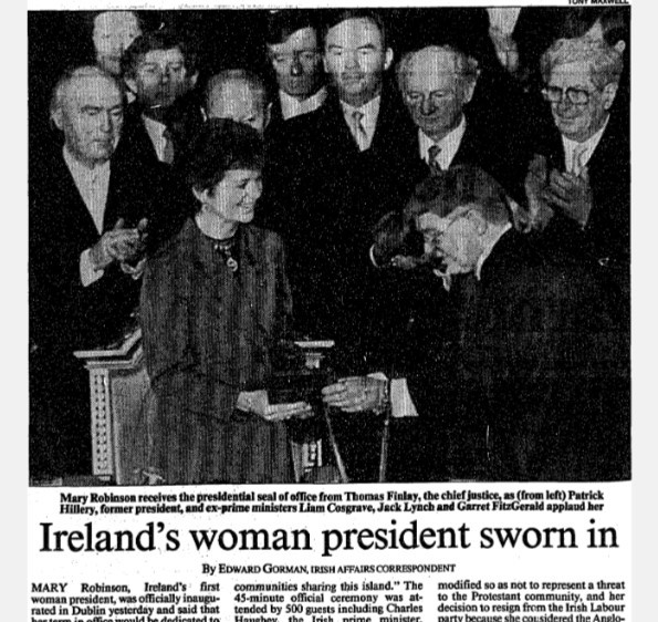 "Gorman, Edward. ""Ireland's woman president sworn in."" Times, 4 Dec. 1990, p. 2. The Times Digital Archive"