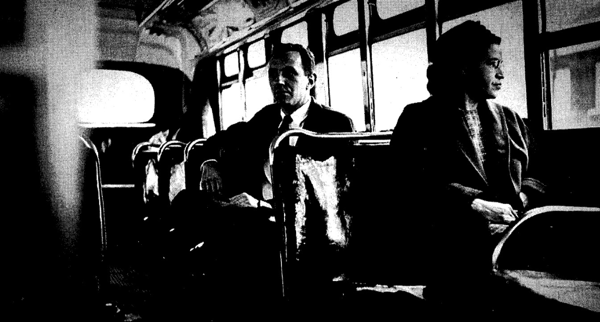 "Rosa Parks on the bus, Reid, Tim. ""America pays its respects to the mother of civil rights movement."" Times, 26 Oct. 2005"