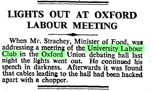 """Lights out at Oxford Labour meeting"" -  ""News in Brief."" Times, 10 Nov. 1948, p. 4. The Times Digital Archive"