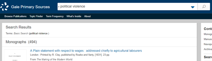 Screenshot: Political violence searched in Gale Primary Sources interface.