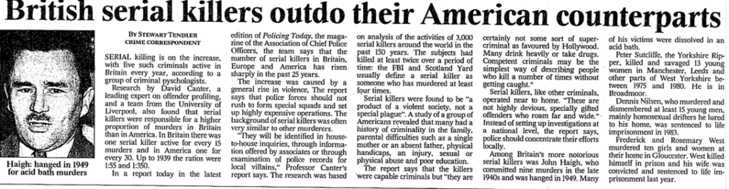 "Tendler, Stewart. ""British serial killers outdo their American counterparts."" Times, 3 May 1996, p. 9. The Times Digital Archive"