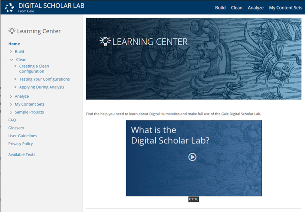 The Learning Center can be used as a standalone destination to teach digital humanities concepts and illustrate a typical workflow.
