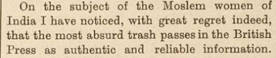 "A close up of a newspaper Description automatically generated  ""Mohammedan Women in India."" The Woman's Signal, vol. 9, no. 224, 14 Apr. 1898, p. 228+. Women's Studies Archive,"