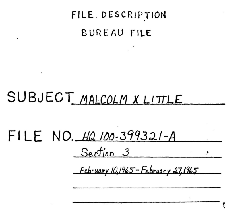 Front cover of FBI File on Malcolm X