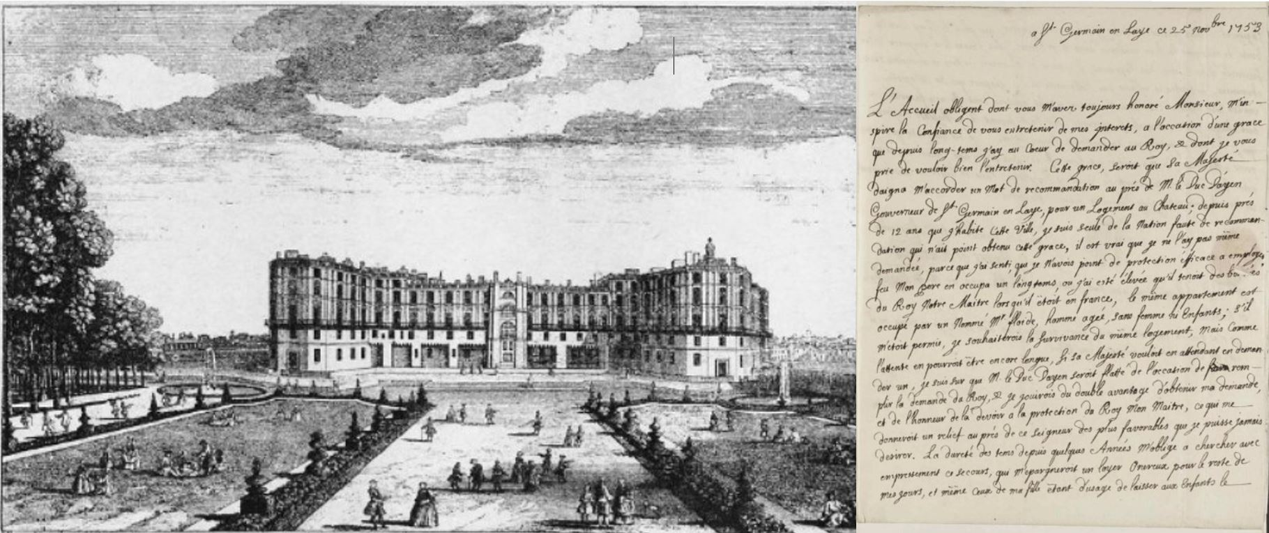 Jacques Rigaud, Vue du Vieux Chateau de St Germain en Laye, engraving, 1725, and letter from Marie Ramsay to James Edgar
