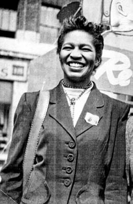 Claudia Jones, likely during her time in theCPUSA (Communist Party of the USA).